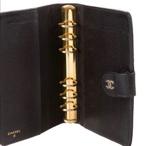 Authentic Quilted Caviar Ring Agenda Cover